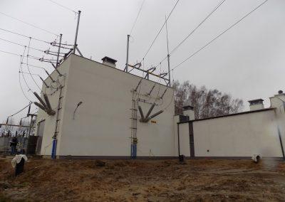 3.SE 110/20_6kV Brzezinka - Wejście linii napowietrznej do budynku rozdzielni 110kV